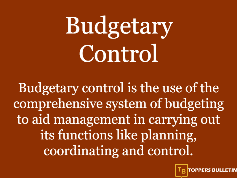 what is budgetary control